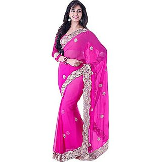 Trishana Fashions Sarees Chiffon Patch TFWE10017 Magenta