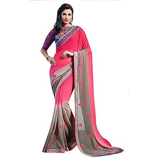 Trishana Fashions Sarees Georgette Embroidered TFWE10749 Rose