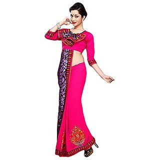 Trishana Fashions Sarees Brasso,Chiffon Printed TFWE11094 Rose