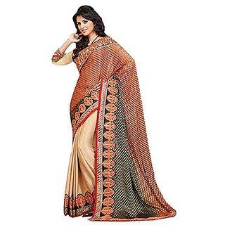 Trishana Fashions Sarees Viscose, Jacquard Embroidered TFWE9936 Peach