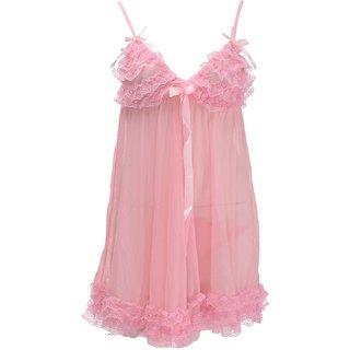 Ruby Women's Babydoll Nightwear With G-String , Ruby -12 , Pink