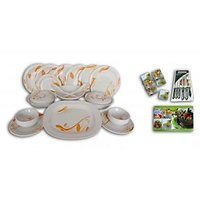 Platinum 32 PCs Melamine Dinner Set,6 Table Mats, 6 PC Knife Set