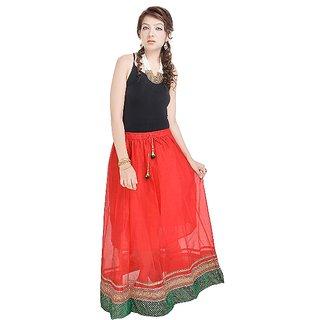 Rajasthani Ethnic Red Pure Cotton Skirt-594