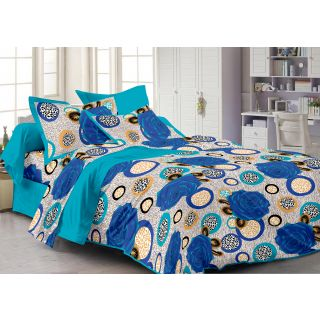 Story Home Blue 100 Cotton Pearl 1 Double Bedsheet With 2 Pillow Cover-Pl1105