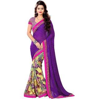 Fashion Trends Purple Bite Geogrette Designer Printed Sarees