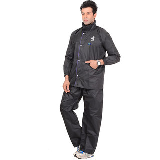 Allwin Men's Polyester Raincoat,P-127-BLACK-XXL