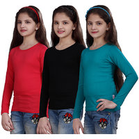 SINIMINI GIRLS FULL SLEEVE TOP ( PACK OF 3 )SMF5007151TPINKBLACKTBLUE