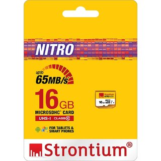 Strontium Nitro 16GB 65MB/s UHS-1 Class 10 microsdhc Memory card (without adapte