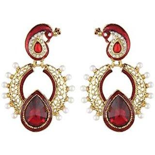 Shining Diva Gold Plated Red Peacock Earrings (6786er)