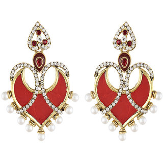 Shining Diva Gold Plated Red Ethnic Earrings (6787er)