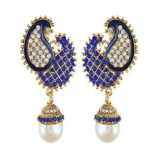 Shining Diva Dancing Peacock Blue Earrings (6788er)