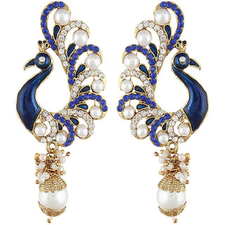 Shining Diva Gold Plated Blue Peacock Earrings (6790er)