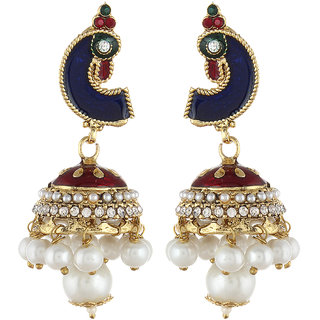 Shining Diva Blue Peacock Jhumki Style Earrings (6792er)