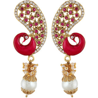 Shining Diva Pink Peacock Jhumki Style Earrings (6793er)
