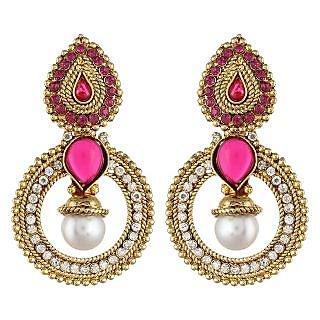 Shining Diva Pink Stone Traditional Earrings (6801er)