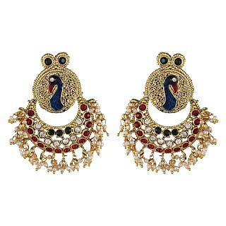 Shining Diva Pearl Polki Kundan Peacock Earrings (6803er)