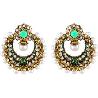 Shining Diva Green Stone Mughal Chnadbali Style Earrings (6805er)