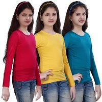 SINIMINI GIRLS PLAIN FULL SLEEVE TOP ( PACK OF 3 )SMF500PETROLLYELLOWRPINK