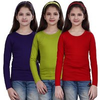 SINIMINI GIRLS FULL SLEEVE TOP ( PACK OF 3)SMF500PURPLEMEGANTHIRED