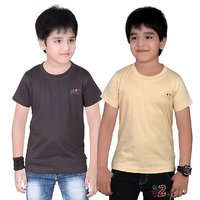 DONGLI SOLID BOY'S ROUND NECK T-SHIRT (PACK OF 2)DL450DGREYBEIGE