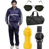 Fundoo-T Blue Track Suit With Gym Bag, Sunglass, Watches & Sipper Bottle