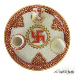 Ecraftindia Designer Marble Pooja Thali With Saathiya