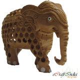 Ecraftindia Wooden Mother Elephant With Baby Elephant