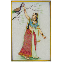 eCraftIndia Ragini With Peacock Marble Painting