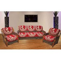JBG Home Store Elegant Maroon Sofa Cover Set ( Set Of 10)