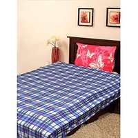 JBG Home Store Blue Check Design Single Blanket