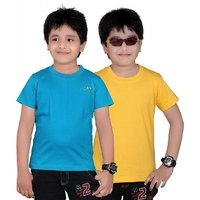 DONGLI SOLID BOY'S ROUND NECK T-SHIRT (PACK OF 2)DL450_GYELLOW_PETROL