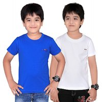 DONGLI SOLID BOY'S ROUND NECK T-SHIRT (PACK OF 2)DL450_RBLUE_WHITE