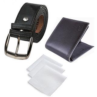 Combo For Men Wallet ,Belt & 3 Handkerchief