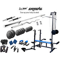 Protoner Rubberised Extreme Weight Lifting Package 60 Kgs + 5' Straight+ 3' Curl Rod + Protoner 20 In 1 Multy Bench