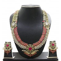 Zaveri Pearls RedPink Alloy Gold Plated Necklace Set For Women