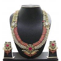 Zaveri Pearls Beautiful Long Botanic Necklace Set - ZPFK621