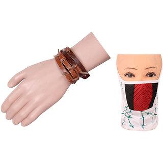 Jstarmart Brown Belt Wrist Band Combo Face Mask