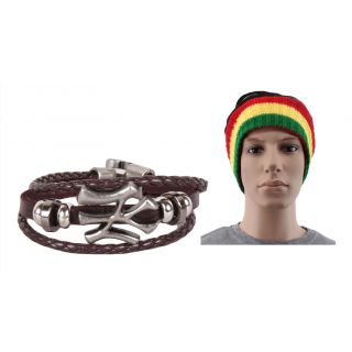 Jstarmart Brown NY Wrist Band Combo Headwrap