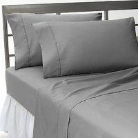 Solid Queen Fitted Sheet + 2 Pillow Covers Grey 400 TC 100% Egyptian Cotton