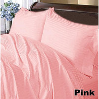 Stripe Queen Fitted Sheet + 2 Pillow Covers Pink 400 TC 100% Egyptian Cotton