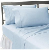 Solid King Fitted Sheet + 2 Pillow Cowers Blue 300 TC 100% Egyptian Pure Cotton
