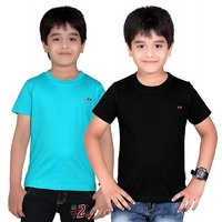 DONGLI SOLID BOY'S ROUND NECK T-SHIRT (PACK OF 2)DL450_TBLUE_BLACK
