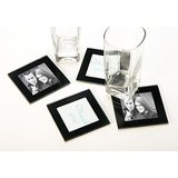 Black Glass Coaster/Frames Set Of 4