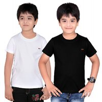 DONGLI SOLID BOY'S ROUND NECK T-SHIRT (PACK OF 2)DL450_WHITE_BLACK
