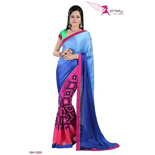 Shaily Georgette Printed Saree With Lace Border SH-1020