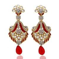 Kriaa Stunnig Red Meenakari Drop  Earrings  -  1304803