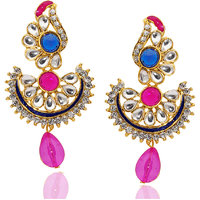 Kriaa Blue & Pink Kundan Drop Earrings  -  1304812