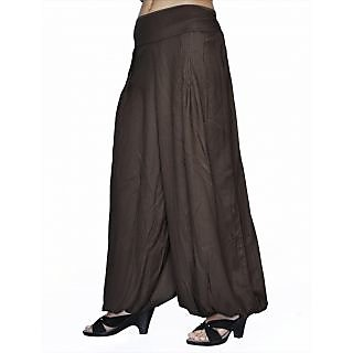 Women Stylish Pure Rayon Brown Color Harem Pants Bottom Trousers
