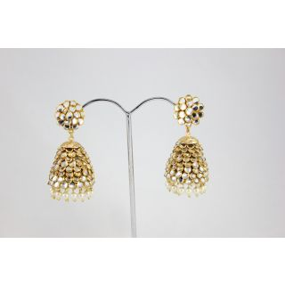 Ethnic Designer Kundan Pacchi With Pearls Hanging Gold Plated Earrings KJE279