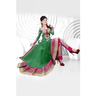 Wonderful Green Semi Stitched Party Wear Salwar Kameez EBSFSK09102F